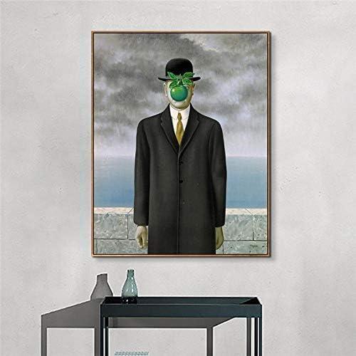 WJY El Hijo del Hombre por Rene Magritte Art Pintura Mural Impresiones y pósters Lienzos Cuadros para Sala Cuadros Art Picture 40cm x60cm Sin Marco