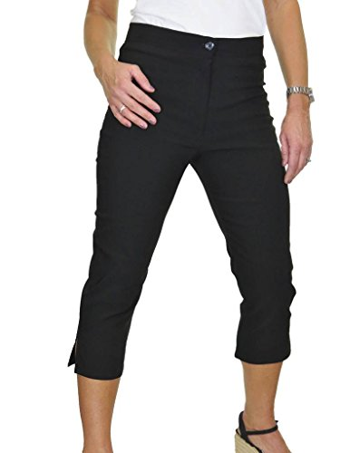 Cintura Pantalones Negro Ice Elástico Capri Tejido Alta De qExaBTg