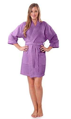 Waffle Weave Dress - Turquaz Linen Lightweight Knee Length Waffle Kimono Bridesmaids Spa Robe (Small/Medium, Lavender)