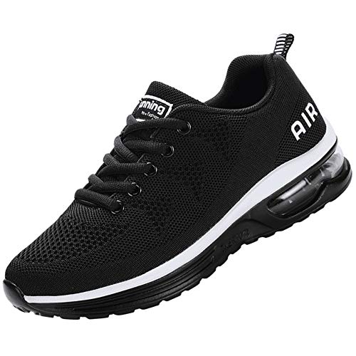 QTMS Lightweight Athletic Running Shoes Breathable Sport Air Fitness Outdoor Gym Jogging Women's Sneakers A35-Black-38(7)