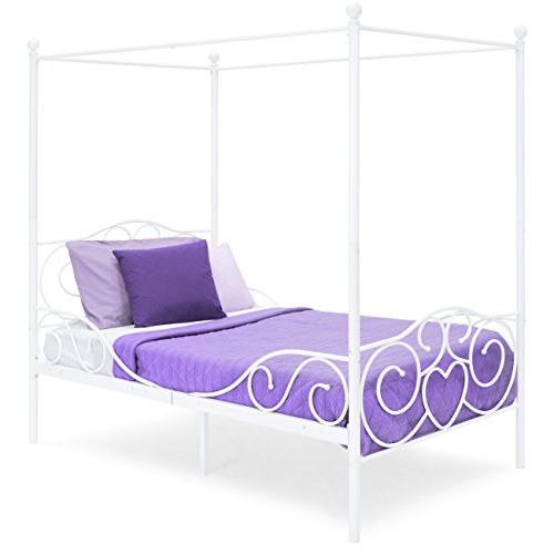 (Best Choice Products 4 Post Metal Canopy Twin Bed Frame w/Heart Scroll Design, Slats, Headboard, and Footboard - White)