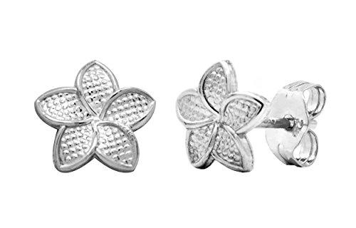 14K White Gold Plumeria 6mm Earrings