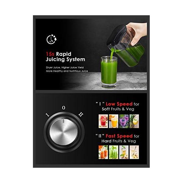 Centrifuga Frutta e Verdura, Aicook Estrattore di Succo a Freddo a 65MM Bocca Larga, Acciaio Inossidabile a Usi Alimentari senza BPA, Doppia Impostazione di Velocità con Funzione Antigocciolamento - 2021 -