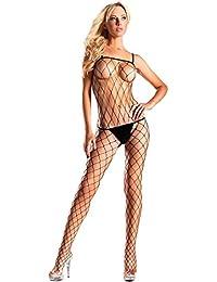 31e0768fd2 BWB11Q Women s Plus Size Diamond Net Spaghetti Strap Bodystocking