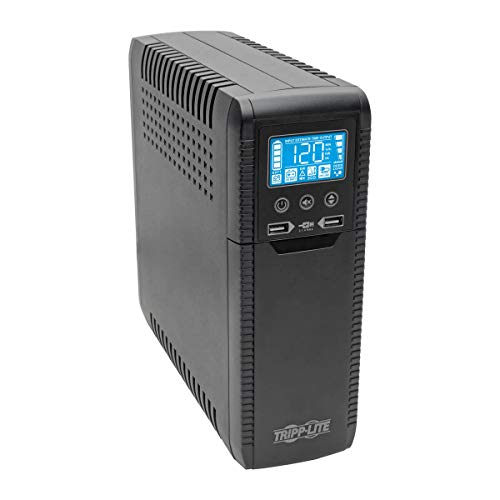 Tripp Lite 1000VA 600W ECO-Friendly UPS Battery Backup, AVR Protection, LCD Display, Line-Interactive, 8 Outlets and 2 USB Charging Ports, 120V, Tel Protection (ECO1000LCD)