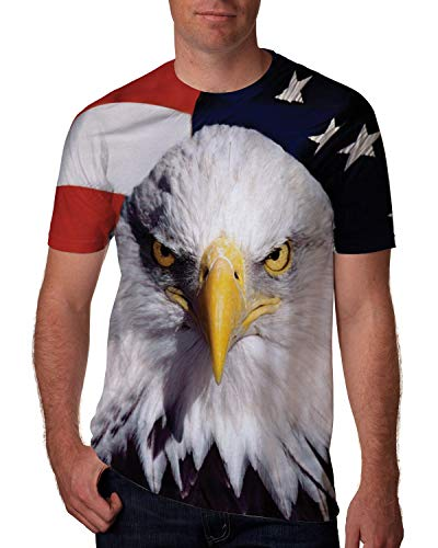 Goodstoworld Men's Cool Graphic Tees Male Gay Guy Designer Shirts 4th of July 3D Print Women Teen Boys Independence Day Beach Holiday Tee Shirt Tops Patriotic Couple Matching Outfits Large