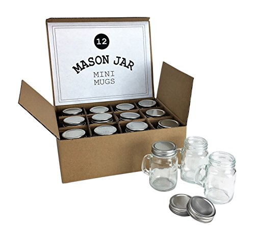 Mason Jar 4 Ounce Mugs - Set of 12 Glasses With Handles And Leak-Proof Lids - Great For Gifts, Drinks, Favors, Candles And - Glasses Warehouse