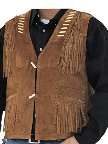 Stormwise Men's Western Cowboy Fringed Suede Leather Vest Suede Brown -