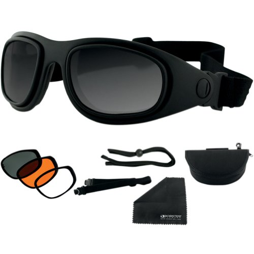 Bobster Sport & Street 2 Interchangeable Touring Motorcycle Goggles Eyewear - Black/Smoke/Amber/Clear / One Size Fits All