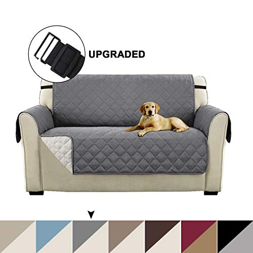 "Sofa Slipcover Reversible Gray Couch Cover, Water Resistant Furniture Protector with Elastic Straps Loveseat Cover Protector for Dogs Seat Width Up to 54"" Couch Cover(Oversize Loveseat, Gray)"