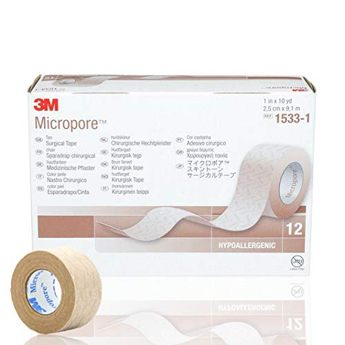 3M Micropore 1'' x 10 yd. Tan Surgical Tape - Box of 12 by 3M