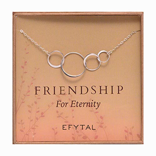 EFYTAL Four Friend Necklace, Sterling Silver Friendship Interlocking Infinity Circles Gift 4 Best Friends Group. 40th Birthday Present. (Four Best Friend Necklaces)