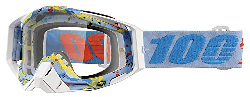 100% Unisex-Adult Hyperloop Racecraft MX Motocross Goggles With Clear Lens (Light Blue/Blue,One Size Fits Most)