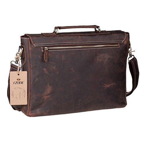 """S-ZONE Handmade Vintage Crazy Horse Leather 15.6"""" Laptop Briefcase Messenger Bag Shoulder Satchel Bag by S-ZONE (Image #2)"""