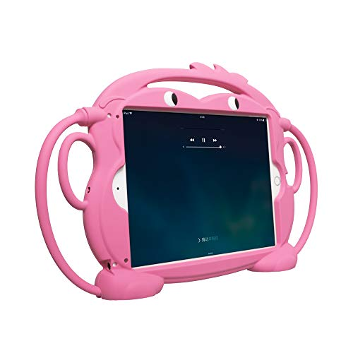 Kids Case for New iPad 2017/2018 - CHINFAI [Double-Faced Monkey Series] Shock Proof Handle Stand Silicone Protective Cover for 9.7 inch iPad Pro/Air/Air2/5th/6th Tablet (Pink)