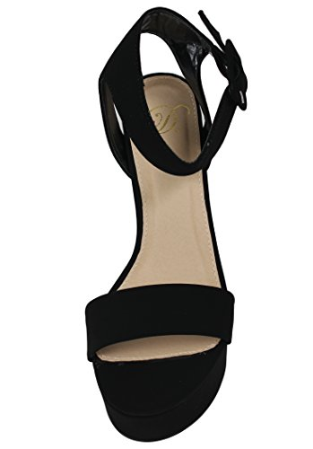 Toe Ankle Delicious Thick Block Strap Wide Womens Open Black Sandal Heel Strap BySwM6qUSK
