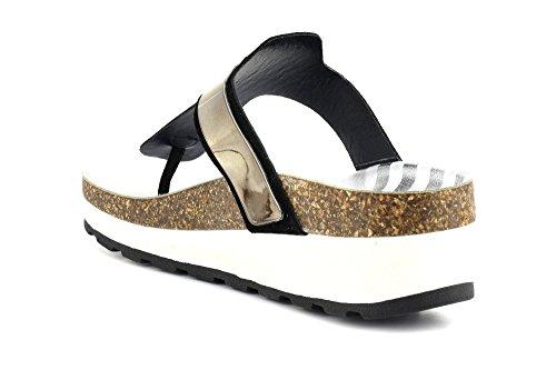 CAF NOIR HL920 zapatillas negras chanclas cuña de la señora de cuero Metalizzato