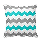 Chevron Pattern - Turquoise and Grey Pillow Cases Cover Decorative Square with Zipper 18 X 18 Inches Two Sides