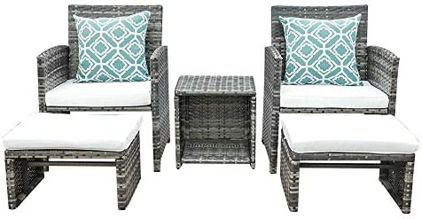 OC Orange-Casual 5 Piece Wicker Outdoor Furniture Set Rattan Bistro All Weather Conversation Set