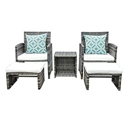 Garden and Outdoor OC Orange-Casual Wicker Patio Furniture Set Rattan Patio Chair Set with Ottoman, Pillows Included, Perfect for Balcony… outdoor lounge furniture