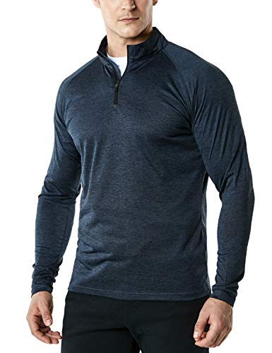TSLA Men's 1/4 Zip HyperDri Cool Dry Active Sporty Shirt Top, Hyper Dri(mkz03) - Teal, Medium