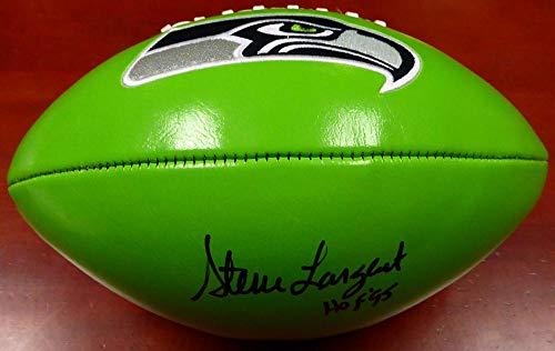 (Steve Largent Autographed Seattle Seahawks Green Logo Football