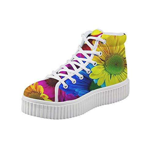 Abrigo Idea Moda Floral Mujer Plataforma Zapatillas Altas Top Zapatos Floral