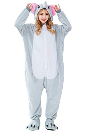 LmeiKK Adult Cosplay Flannel Anime Cartoon Onesie Animal Pajamas Elephant Gray (S)