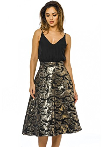 AX Paris Women's 2 in 1 Metallic Midi Skirt Black Dress(Black Metallic, Size:12)
