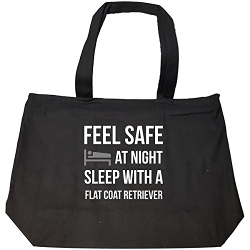 Feel Safe At Night Sleep With A Flat Coat Retriever Dog - Tote Bag With Zip by We Add Up (Image #1)