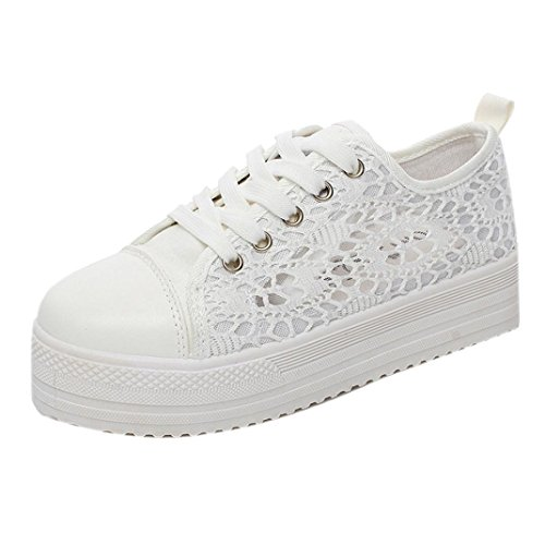 Transer Ladies Lace Hollow Floral Running Sneakers Flats Shoes, Women Comfy Casual Work Loafers Lazy Canvas Shoes White