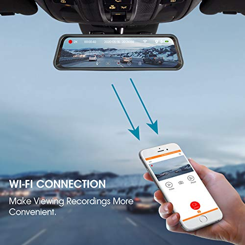 "iMirror 10"" Anti-Glare Rear View Mirror Dash Cam, Dual 1080P Dash Camera, Sensitive Touch Bar Button and Super Night Vision with Sony Starvis Sensor"