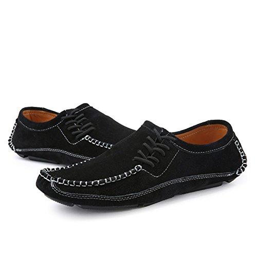 Hombres 44 HJKL Toe Cuero de EU para tamaño Color Negro Suela Mocasines de Empalme Round Negro Flats Vamp fII4qnZUx