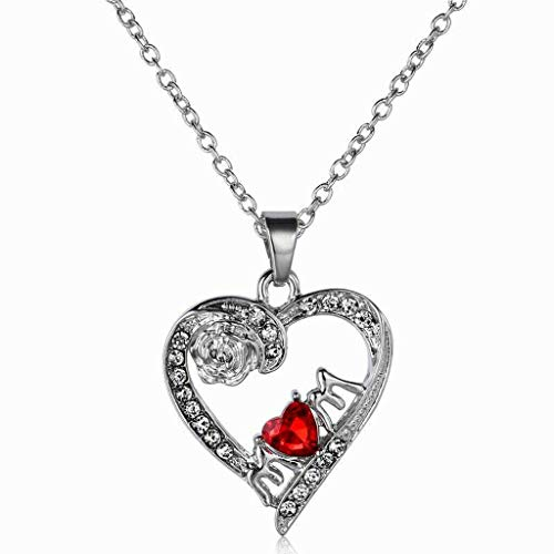 Diamante Red Heart Choker Necklace Charm Pendant Silver for Women Birthday Necklace Jewelry Crafting Key Chain Bracelet Pendants Accessories Best