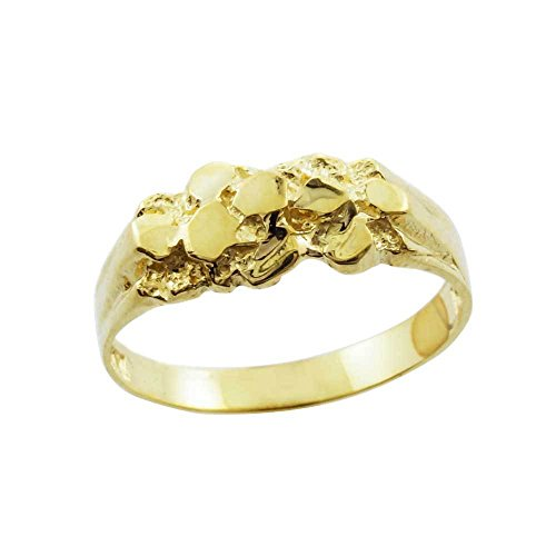 Solid 10k Yellow Gold Polished Nugget Baby Ring (Size 5) (Gold Ring Nugget Yellow)