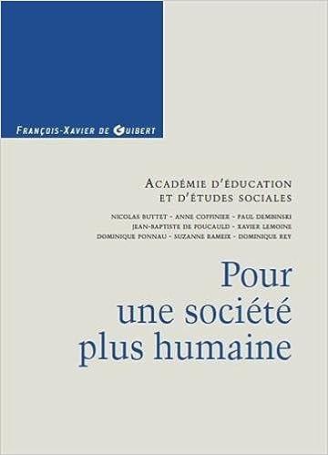 Livres gratuits Pour une société plus humaine pdf