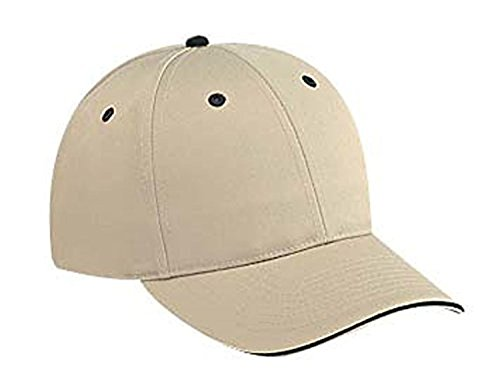 Hats & Caps Shop Cn Twill Sandwich Visor Low Profile Pro Style Caps - Kha/Kha/Blk - By (Santa Chef Felt)