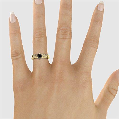 Or jaune 18carats 1/2ct G-H/VS sertie de diamants ronds Coupe Noir de mariage Bague de fiançailles et ensemble de Agdr-1153