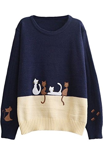 Enlishop Women's Cute Cartoon Cat Print Color Block Pullover Sweater Top 41wAOghk9BL