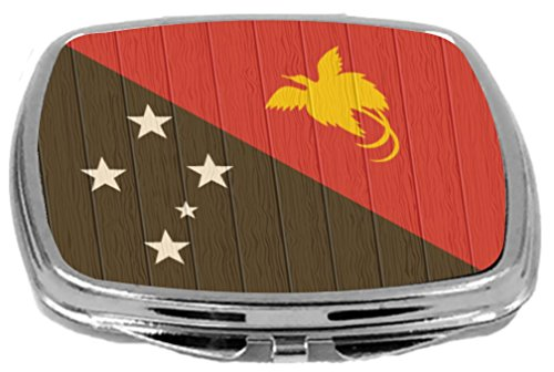 Rikki Knight Compact Mirror on Distressed Wood Design, Papua New Guinea Flag, 3 Ounce by Rikki Knight