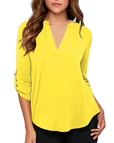 - roswear Women's Casual V Neck Cuffed Sleeves Solid Chiffon Blouse Top Yellow Medium