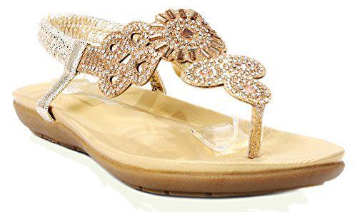 Women 3-34J Gold Glitter Sparkle Rhinestone Cut Out T-Strap Cushioned Slingback Thong ()