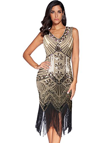 Meilun 1920s Sequined Inspired Beaded Gatsby Flapper Evening Dress Prom (XXL, Beige) ()