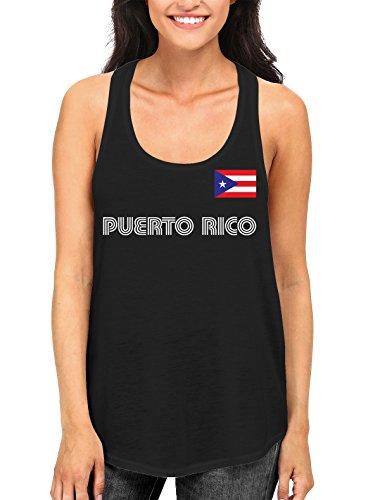 SpiritForged Apparel Puerto Rico Soccer Jersey Women's Racerback Tank Top, Black XL