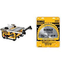 DEWALT DW745 10-Inch Compact Job-Site Table Saw with 20-Inch Max Rip Capacity - 120V & DEWALT DW3106P5 60-Tooth Crosscutting and 32-Tooth General Purpose 10-Inch Saw Blade Combo Pack