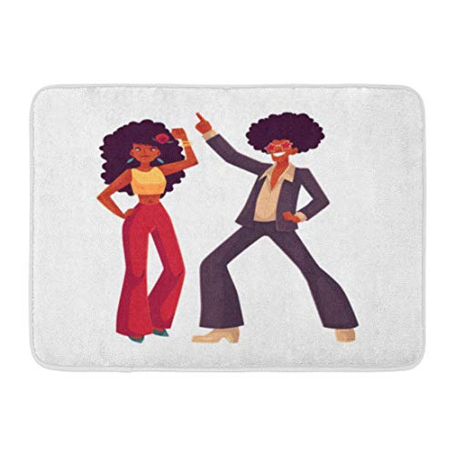 AUUOCC Doormat, Kitchen Bathroom Floor Carpet Mat, Bath Mat Man and Woman with Afro Hair and 1970S Dancing Disco Cartoon White Young and in Flares with African Bathroom Decor Rug -