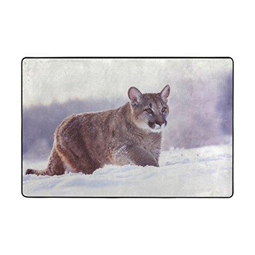 La Random Cougar American Puma Area Rug Lightweight Non-Slip Rugs for Living Room Bedroom Floor Mats 6'x4'