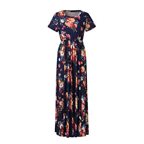 Mysky Women Summer Popular Lovely Bohemian Floral Print Short Sleeve Pocket Pleated Maxi Dress Beach Sundress Navy