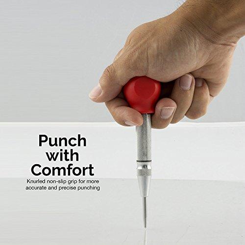 Cikuso 1pcs HSS Centre poincon stator perforateur automatique Centre de marquage ressort goupille poincon outil de percage avec un manchon de protection-rouge et argent
