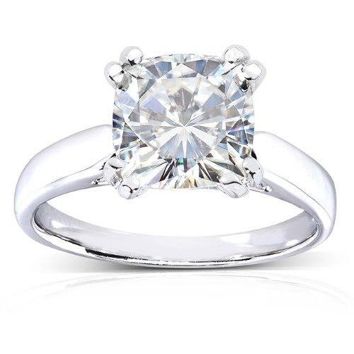 Cushioncut Moissanite Solitaire Engagement Ring 2 CTW 14k White Gold Size 45